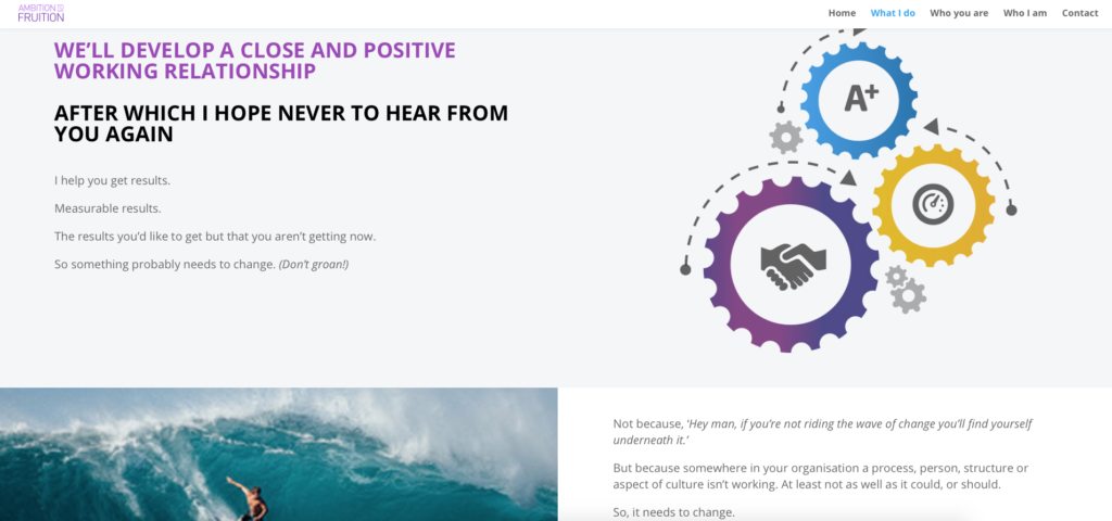 Screenshot of What I Do page from Ambition to Fruition website